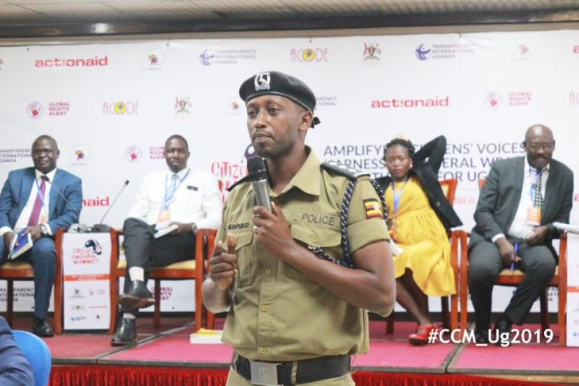 The commandant of the Police Mineral Protection Unit ASP Moses Musinguzi Karakire defending his unit at the convention