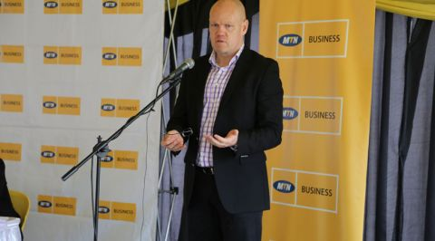 MTN CEO, Brian Gouldie addressing media at Nyonyi Gardens as he launched the new MTN Business bundles