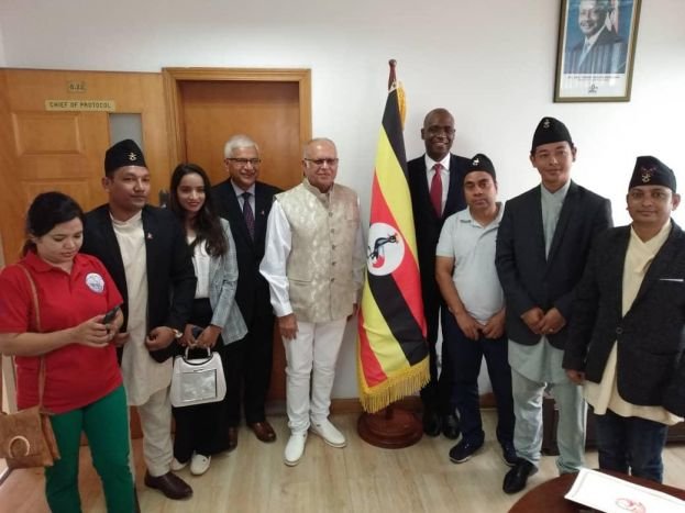 Dr Sudhir accompanied by Nepalis residents and Ambassador Jhabindra Aryal in Uganda presents credentials to foreign affairs minister Sam Kutesa