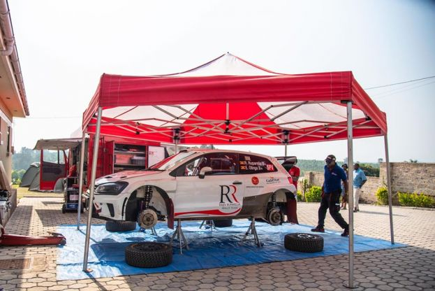 The technical team of Rajiv Ruparelia Rally Team preparing their VW Polo ahead of the NRC season opener in Mbarara.
