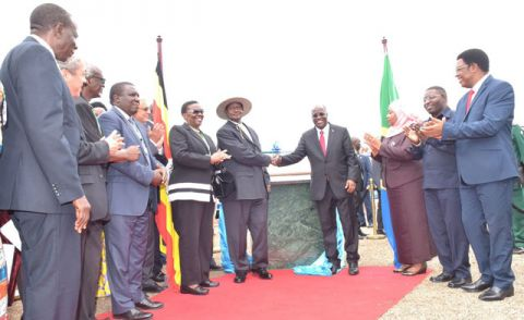 Presidents Yoweri Museveni of Uganda and Pombe Magufuli of Tanzania laying a foundation stone in preparation for the commencement of construction of EACOP. Construction of the project has never kickd off.