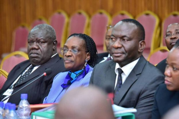 Benedict Sekabira, the Director Financial Markets Development at Bank of Uganda and Justine Bagyenda appearing before COSASE to answer allegations of mismanagement Bank of Uganda.