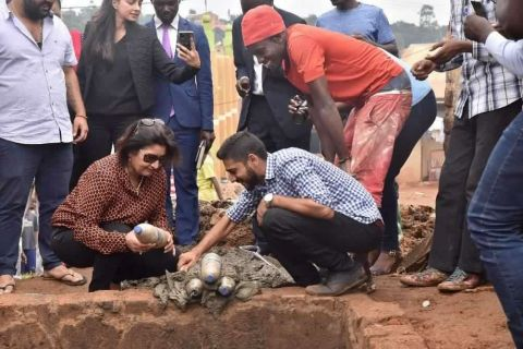 Ruparelia Foundation trustee Jyotsna Ruparelia lays the first eco bricks to commence the construction works of the project in December last year.