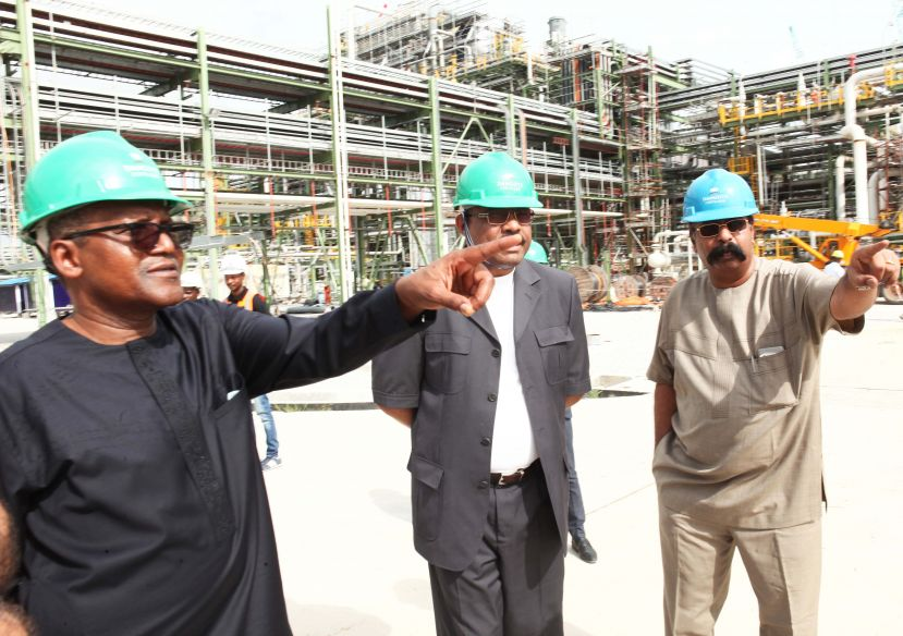 Aliko Dangote, Hailemariam Desalegn and Devakumar Edwin during the Former Prime Minister's visit to the Dangote Refinery and Fertilizer Projects in Lekki, Lagos