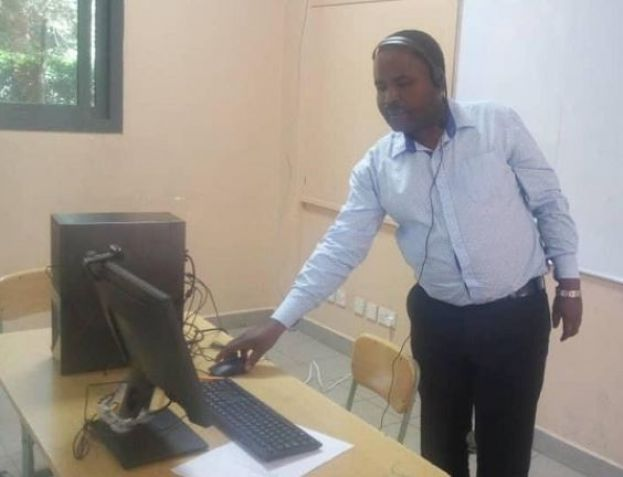 A Kampala Parents School teacher conducting an online class on Tuesday