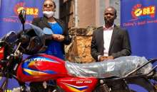 Sanyu FM Rewards Employee Who Walked To Work During Lockdown With Motorcycle